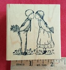 Rubber Stamp Delafield H749 Boy & Girl Kissing Love Country Flowers Retired New