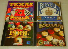 4 Lot PC Card Games - Texas Hold'em Champ Pool Bicycle Classic Cards Backgammon