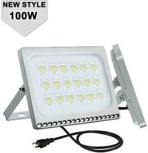 Ultrathin 100W LED Floodlight Waterproof Cool White IP65 12K Lumens 120V AC Plug