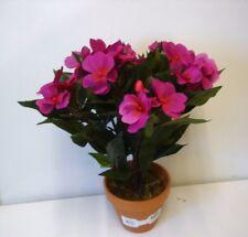 New Purple New Guinea Bizzie Lizzie Bush Artificial Silk Pot Plant 12in