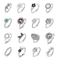 925 Sterling Silver Daisy Flower CZ Rings Fit European Authentic Fashion Jewelry