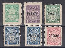 Argentina, Entre-Rios, Forbin 112//136. 1902-1910 Provincial Tax Revenues 6 diff