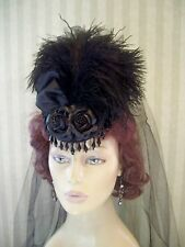 Steampunk Mini Riding Hat, 1800s Style Hat, Black Hat, Victorian Hat, Halloween