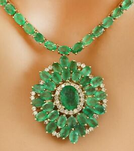 44.60 Carat Natural Emerald 14K Solid Yellow Gold Luxury Diamond Necklace