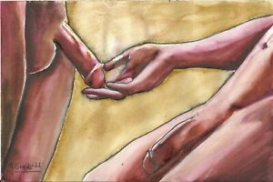 """""""TWO NUDE MALE 235/21 gay interest"""" Original Watercolor by M. GRACIA"""