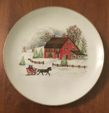Vintage Ceramic Plate with Holiday Winter Scene