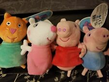 """Peppa Pig Pink/Red/Suzy Sheep/Candy Cat 4 Toy's One Lot Unisex Plush 8.5"""" /18MO+"""