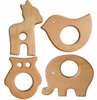 Baby Wooden Teether Natural Baby Teething Toy Organic Eco-friendly Wood Teething