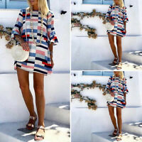 UK Womens Printed Long Tops Flared Sleeve Holiday Casual T-Shirt Dress Sundress