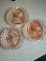 3 Pink Miss America Depression Glass Divided Grill Dinner Plates Anchor Hocking