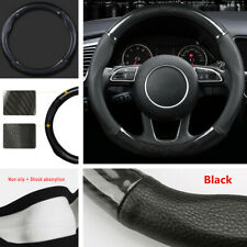 Car Steering Wheel Cover Carbon Fiber Stitching PU Leather Universal 38cm 15inch