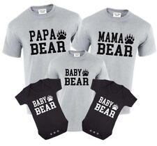 Papa Bear,Mama Bear,Baby Bear T-Shirt Set Gift Birthday Tops Bear & Paw Family