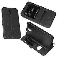 custodia in eco pelle nera per Samsung Galaxy Note 3 Neo N7505 cover + Stand