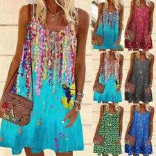 Women Casual Sleeveless Crew Neck Sling A-Line Summer Floral Loose Slip Dress