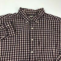 J. Crew Button Up Shirt Men's Size 2XL XXL Long Sleeve Maroon Navy White Plaid