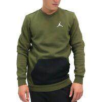 Jordan Olive Canvas/Black Jumpman Fleece Crew Pullover Sweatshirt