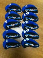 10PCS Golf Club Covers for Callaway XR Cup 360 Iron Headcovers Blue&Black Velco