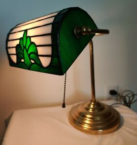 """Vintage Bankers Desk Lamp Stained Glass Brass Pull Chain 15"""" Library Handmade"""