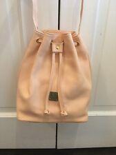 NWOT MCM Drawstring Bucket Bag Purse Light Peach Pink Pebbled Leather NEW