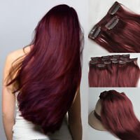 99J# Red Burgundy Hair7pcs Clip In Real Human Hair Extensions 18''-30''