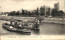 London S.W. Lambeth Palace # 65 by LL / Levy. Black & White. Paddle Steamer.