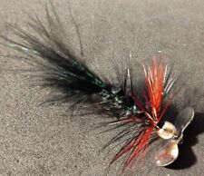 Trout/Freshwater, Black Green Fleck Blood Spinner, Silver Prop, Sold per 3, Hot*