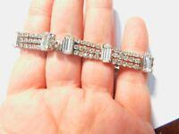 Signed Weiss Beautiful Baguette Clear Rhinestone Bracelet 7 Inch Vintage