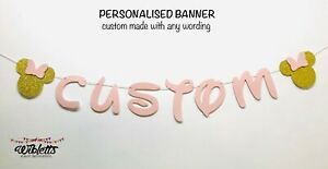 PERSONALISED CUSTOM WORDING BANNER, MINNIE MOUSE INSPIRED THEME BIRTHDAY PARTY