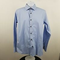 Levinas Contemporary Fit Blue Men's L/S Dress Button Shirt Sz Large L - 35/36