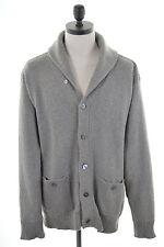 POLO Ralph Lauren da Uomo Scialle Collo Cardigan Sweater XL GRIGIO COTONE