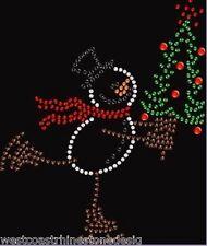 Skating Snowman Christmas Rhinestone Transfer Iron On   R59L