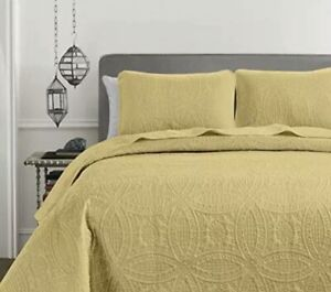 Chezmoi Collection Austin 3-Piece Oversized Bedspread Coverlet Set Queen Yellow