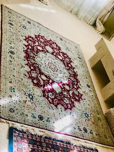 💎Vintage hand made Light Blue BURgundY 1stclass IraN tabriz Persian RUG