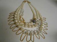 Chico's Faux Pearl Beaded Multi Strand Layered  Statement Necklace
