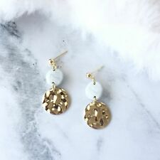 Golden Round Disc Stone Earrings - Handmade Polymer Clay Stone Dangle Earrings