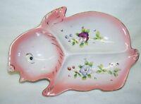 Antique Trinket Dish Handpainted Roses Rabbit Shape  Japan