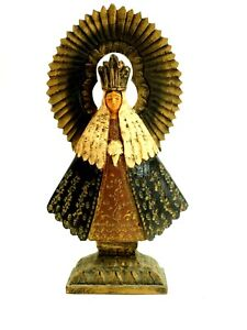 Fine Carved Wood Santos Our Lady of San Juan de Los Lagos Blessed Virgin Mary