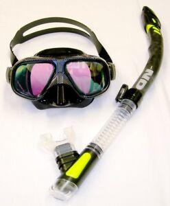 IST Vega Black Silicone Tinted Dual Lens Mask & ND Snakehead Snorkel Combo Set