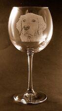 New Etched Golden Retriever on Large Elegant Wine Glasses-Set of 2