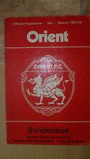 1973/74 League Programme Leyton ORIENTL v SUNDERLAND 19 January