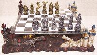 Chess Set with Glass Board Themed Polyresin Platform Pewter Knights Skeltons NEW