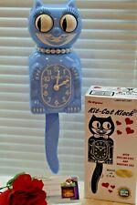 NEW AUTHENTIC  Kit Cat Clock Blue Serenity lady Moving Eyes & Tail  Made In USA