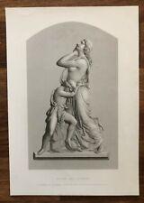 1852 ANTIQUE ENGRAVING HAGAR and ISHMAEL Sculpture BAS Relief Monument