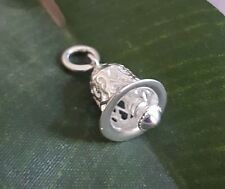 925 Sterling Silver decorated Bell Chime Pendant Charm Mini