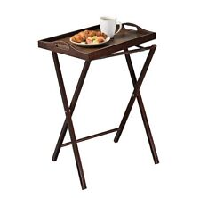 Serving Tray Table Folding Portable Snacks TV Brown Sturdy In-Outdoor Espresso