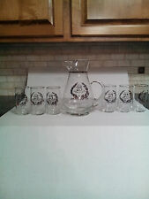 WEST VIRGINIA GLASS 25TH ANNIVERSARY PITCHER & 6-GLASSES
