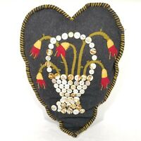 Handmade Folk Art Craft Heart Pillow Wool Felt Mother of Pearl Buttons Beaded