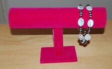 New Pink Velvet T-Bar Jewelry Stand Rack Bracelet Display Organizer Us Seller
