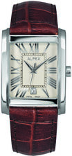 Alfex Steel/ Leather Mens Watch 5682/768. 3ATM Water Resistant, Swiss Made.