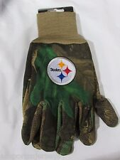 NFL NWT CAMOUFLAGED NO SLIP UTILITY WORK GLOVES - PITTSBURGH STEELERS - CAMO